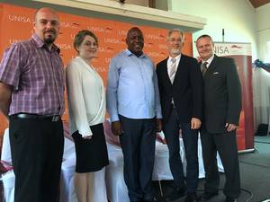 Photo: IIRF affilates with conference chair Prof. Derrick Mashau in centre, from left Drs. Werner Nel, Dr. Georgia du Plessis, Prof. Dr. Christof Sauer, Dr. Fernando da Silva © Christof Sauer